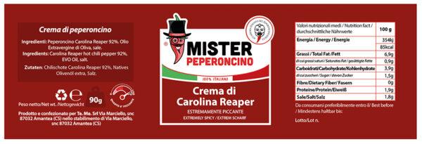 etichetta crema di carolina reaper