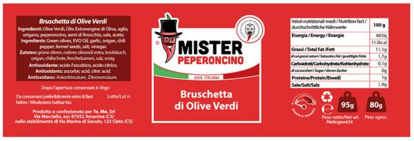 etichetta bruschetta di olive verdi