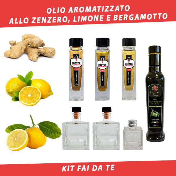 olio aromatizzato allo zenzero limone e bergamotto